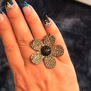 Vintage Stone Flower Gun Metal Ring